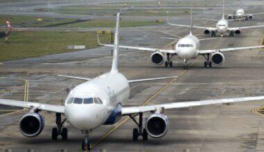 Airport queue on runway