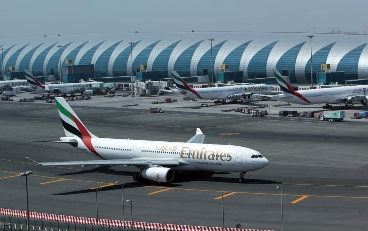 Emirates on tarmac at Abu Dhabi