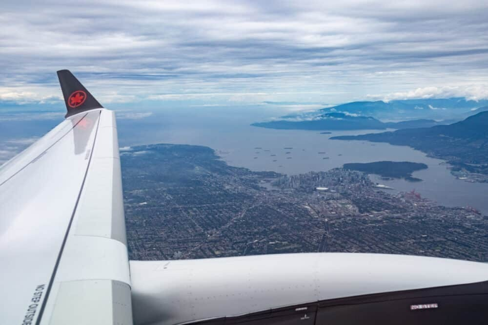 Vancouver from Air canada plane