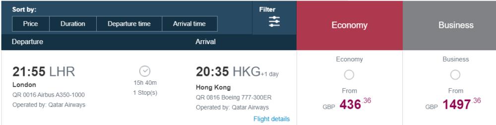 Qatar Airways fares