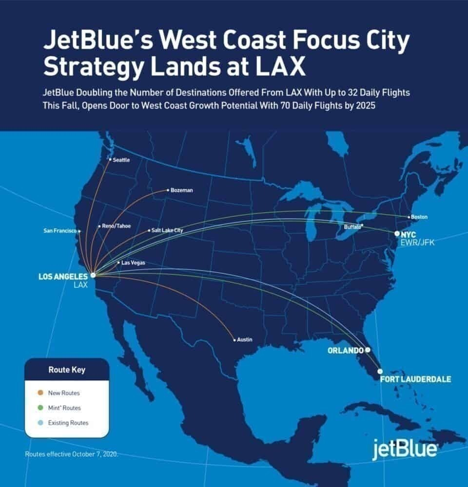 JetBlue To Launch 7 New Los Angeles Routes On October 7th
