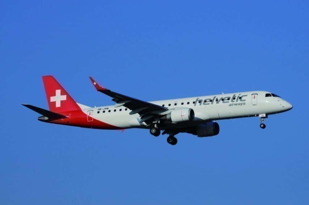 Helvetic E190 in flight