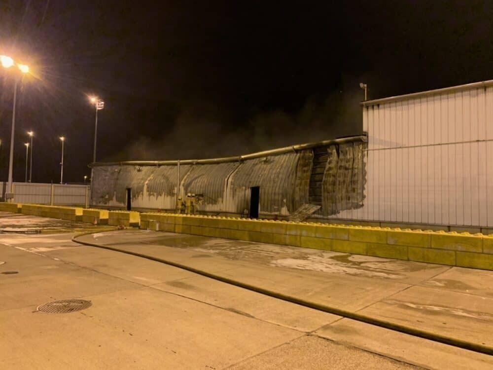 Fire damage to warehouse at Liege Airport