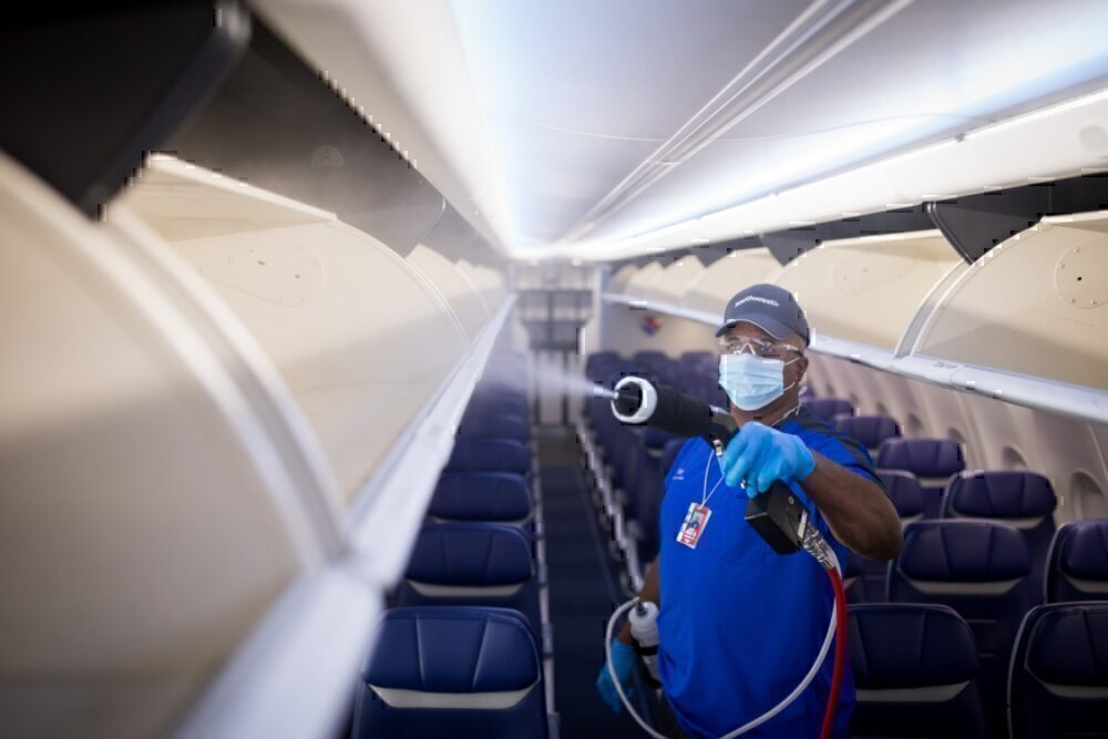 Aircraft cleaning electrostatic sprays