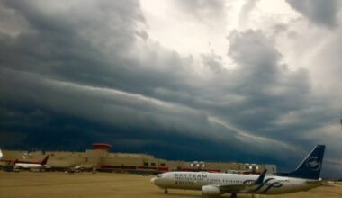 Airport in storm