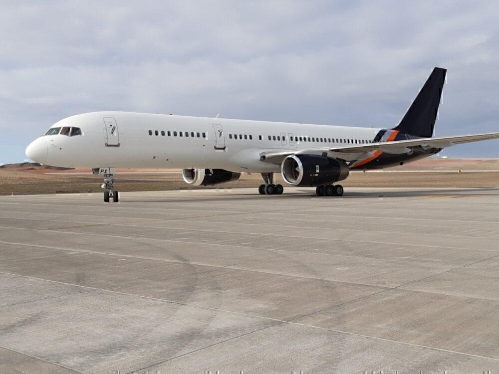Titan Airways 757 at Saint Helena Airport