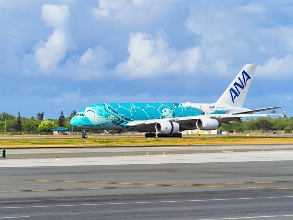 ANA Airbus A380 Emerald Green