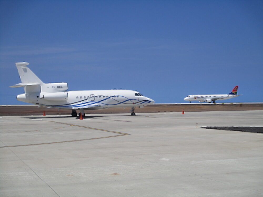 SA Airlink and a Dassault Falcon 900EX at Saint Helena