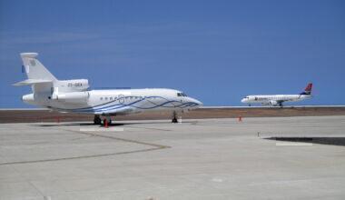 SA Airlink and a Dassault Falcon 900EX at Saint Helena