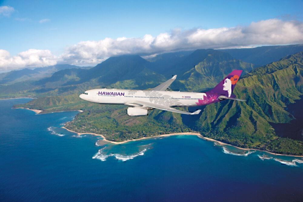 Hawaiian Airlines A330 over Hawaii
