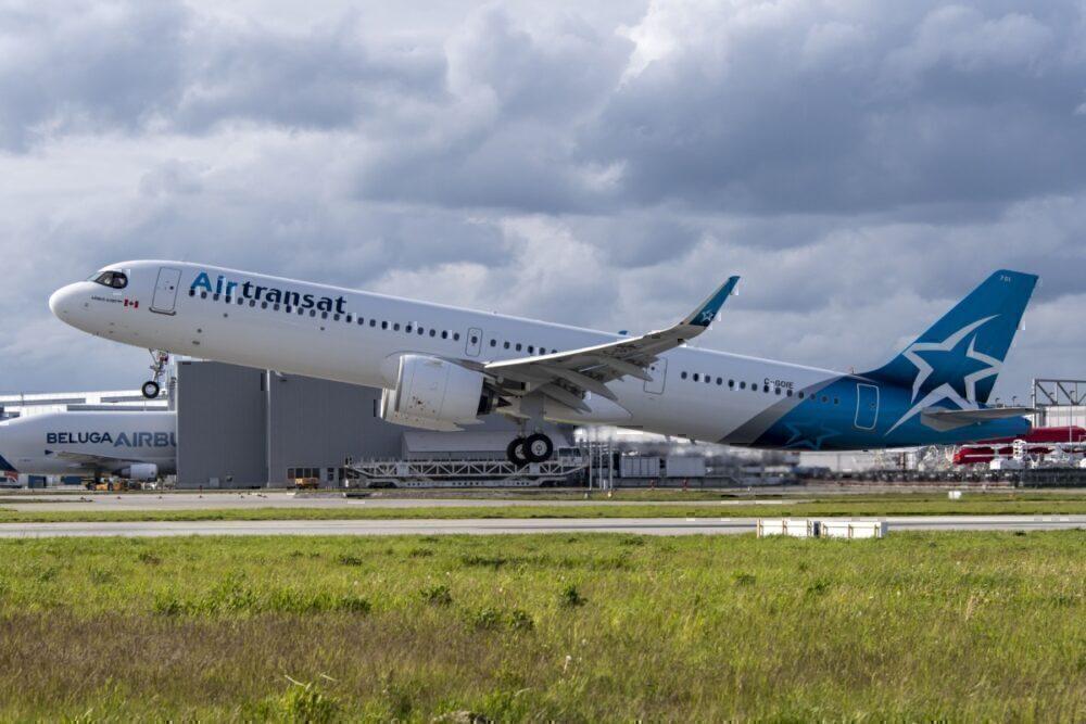 Air Transat A321lr in flight
