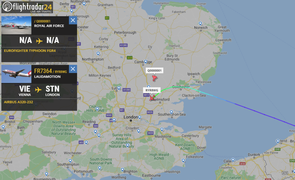 RAF jets escort Ryanair flight to Stansted after reports of 'security threat'