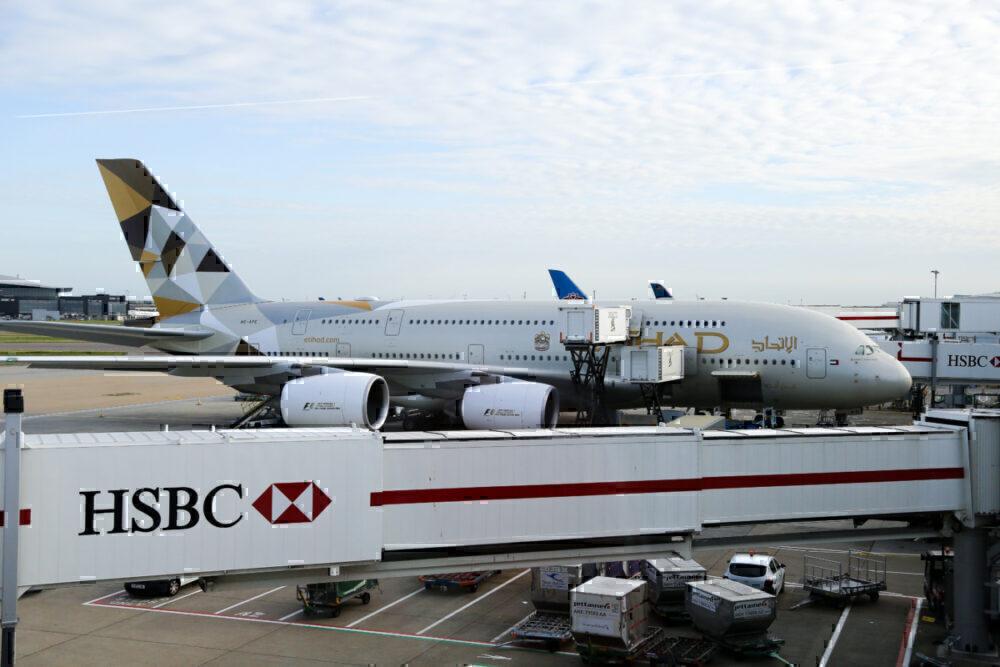 Etihad A380 at gate