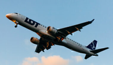 Polish Airlines Lot Embraer E195LR lands at Krakow-Balice