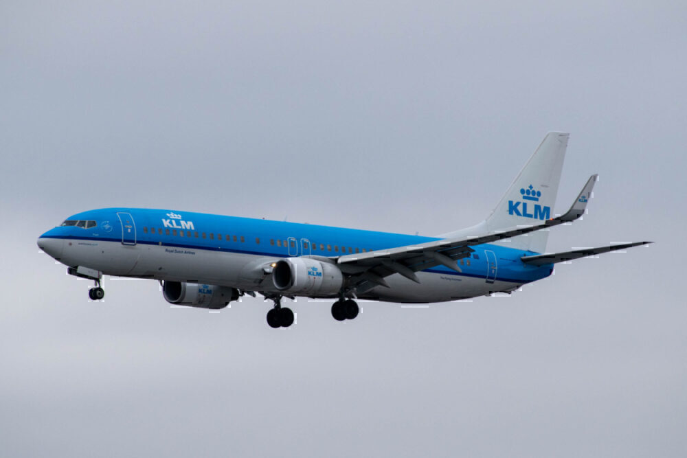 KLM in air grey day