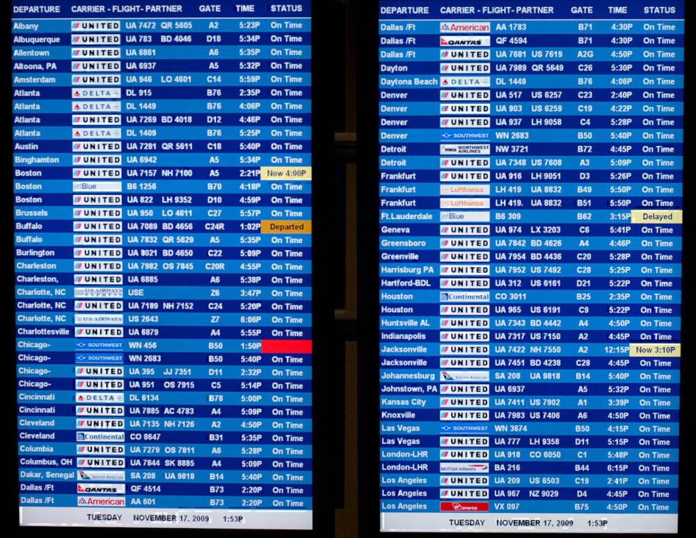 Departure board Dulles