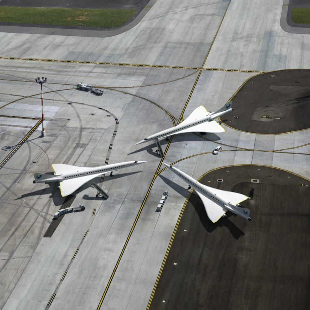 Boom aircraft on runway