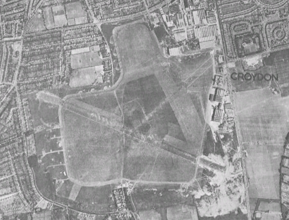 Aerial view of Croydon Airport in 1945