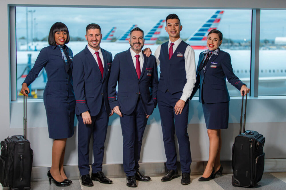 American Airlines crew line up