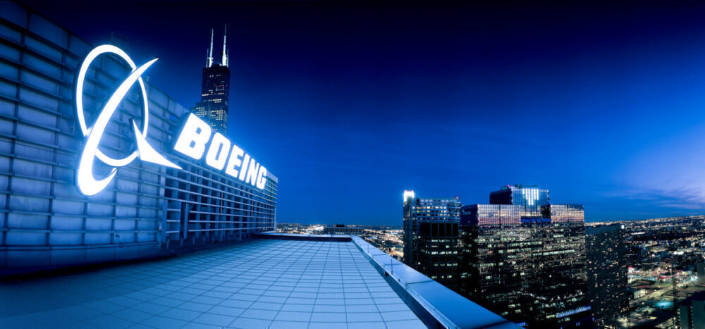 Boeing building and logo