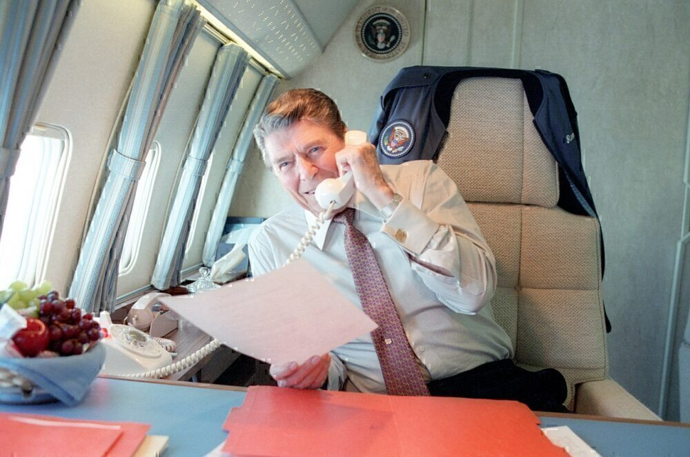 Ronald Reagan onboard Air Force One