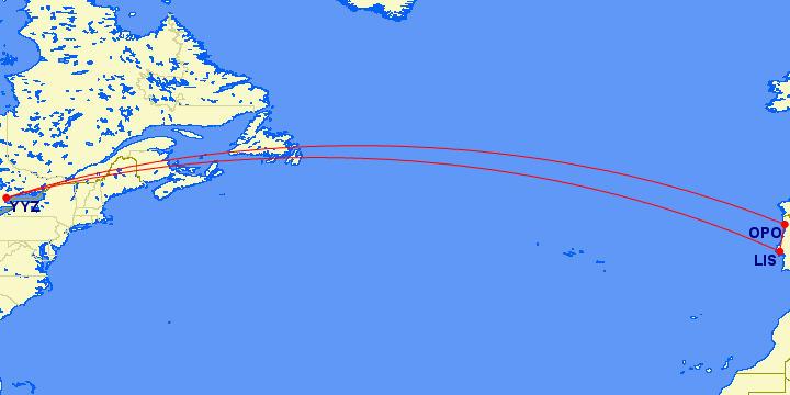 Air Transat Portugal Triangle Map