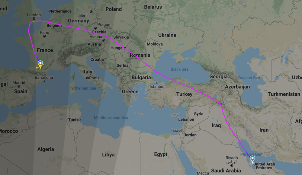 Qatar A350s delivered via the uk