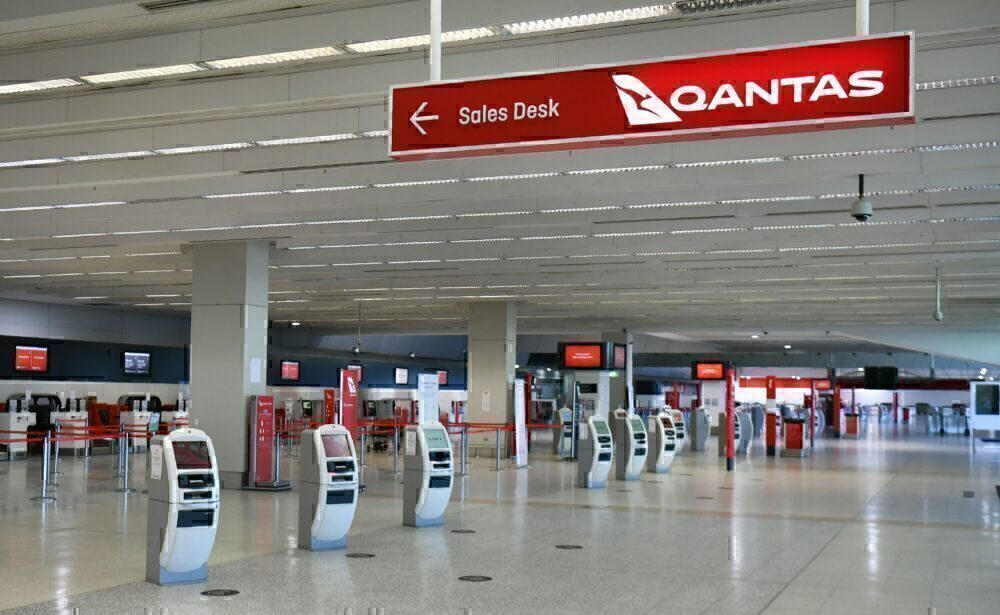 Qantas departure terminal at Melbourne