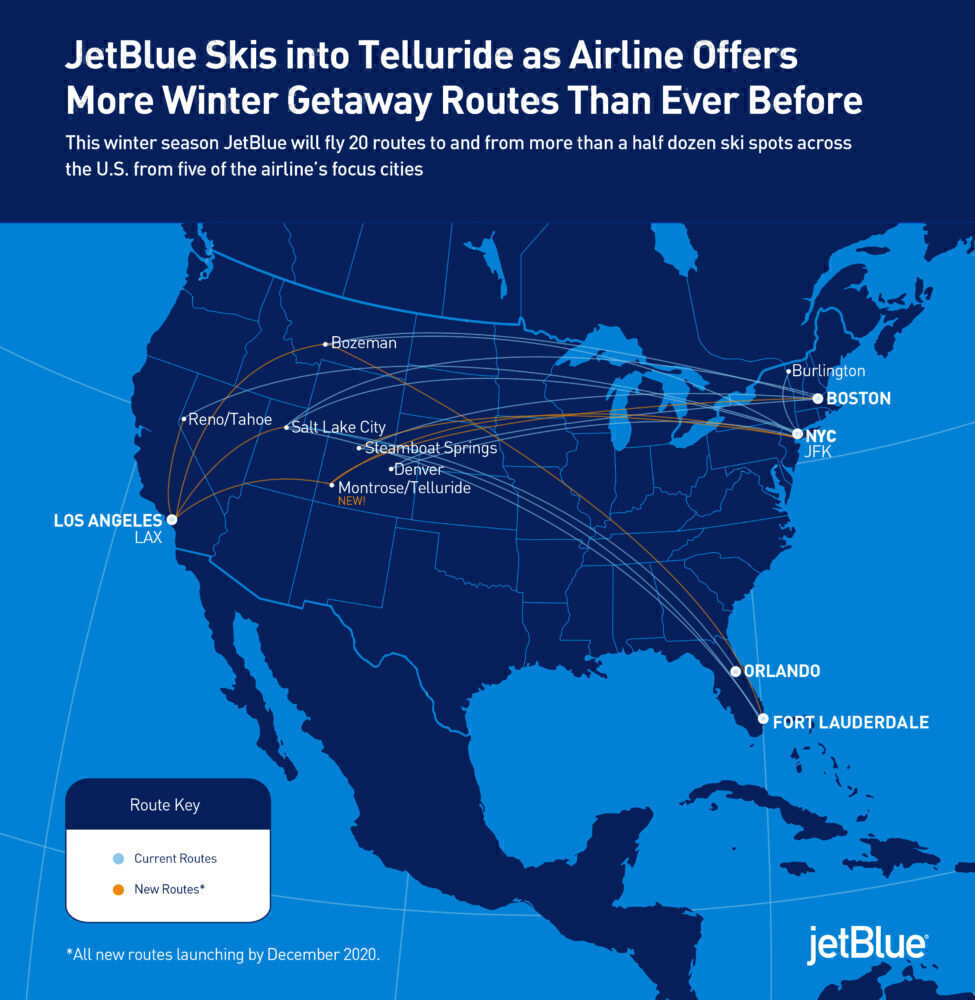 JetBlue, Ski Breaks, New Routes