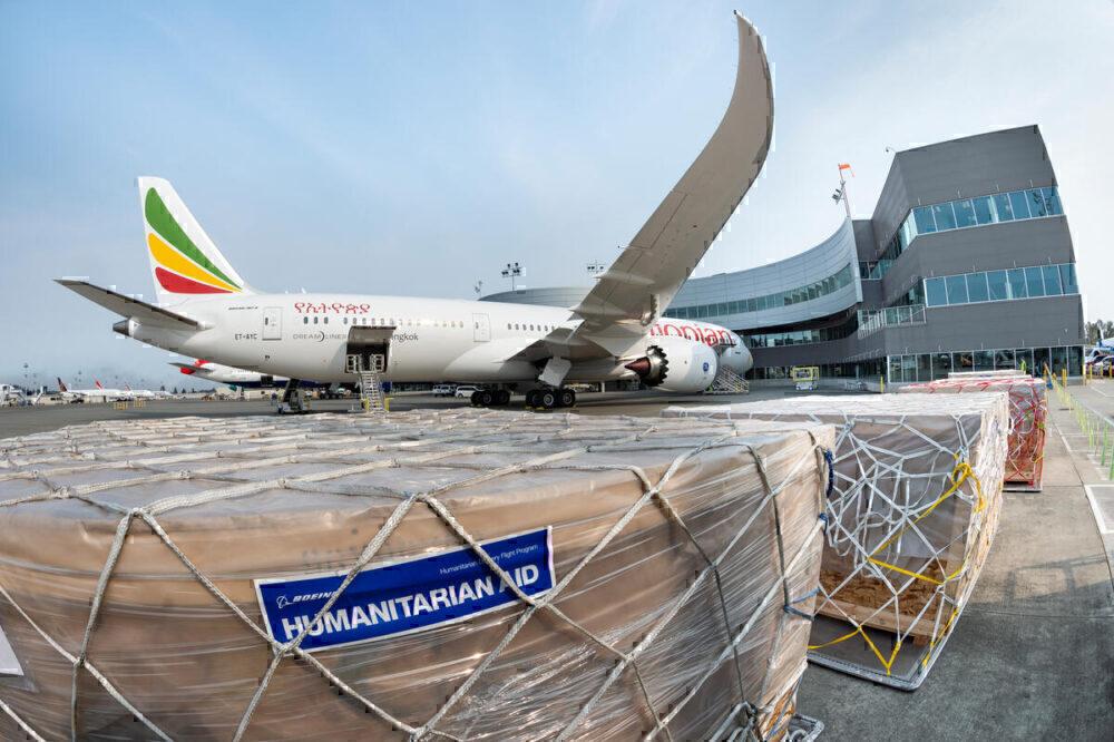 Ethiopian 787-9 humanitarian aid delivery