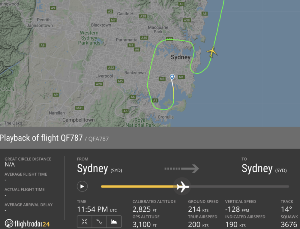 QF787 Flight Path