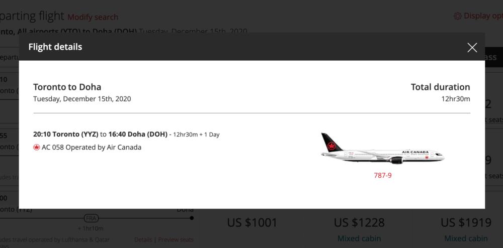 Air Canada booking doha