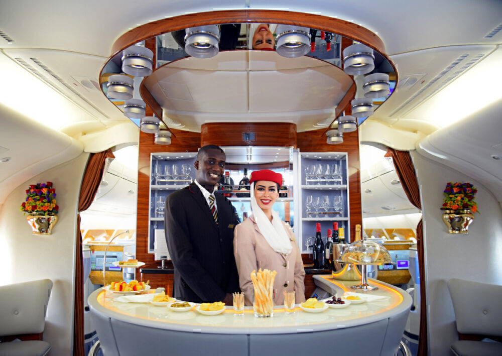 The Emirates A380 Onboard Lounge