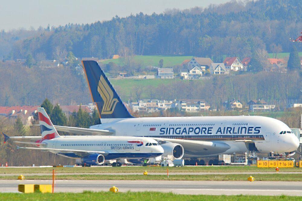 British Airways A320 Singapore Airlines A380 Zurich