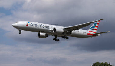 American Airlines Boing 777 Landing At London Heathrow