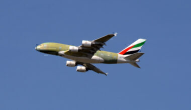 An Airbus A380 of Saudi Arabia airlines