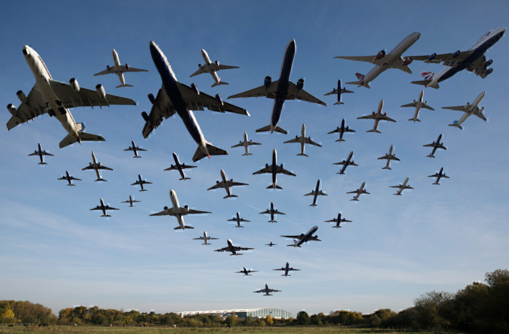 Planes Taking Off At Heathrow Airport Over A One Hour Period