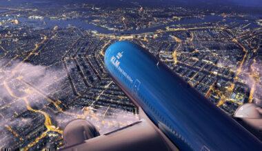 KLM Amsterdam at night