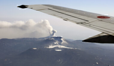 Plane Passing Volcano