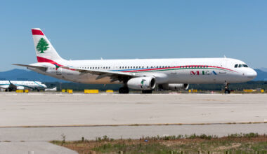A Middle East Airlines (MEA) Airbus, 321, on the taxi at