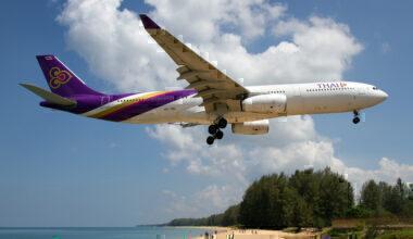 A Thai Airways International Airbus 330-300 lands at Phuket