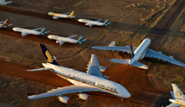 Singapore Airlines A380 Parked