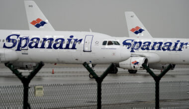 Spanair planes are pictured on the tarma