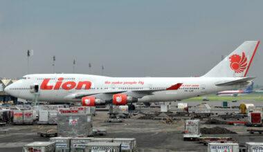 A Lion Air Boeing 747-400 airplane sits