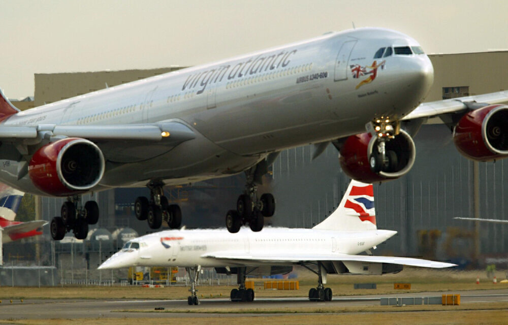 Virgin A340 British Airways Concorde Heathrow 2003 Getty