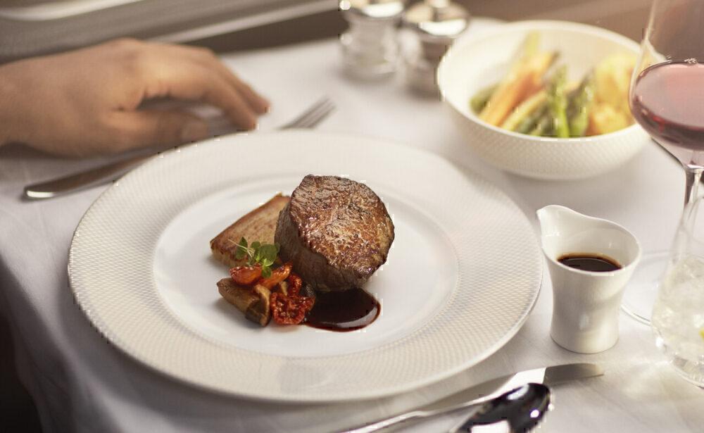 British Airways First Meal
