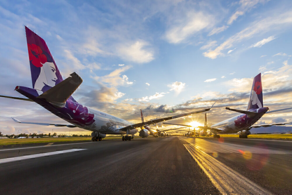 Hawaiian Airlines parked planes