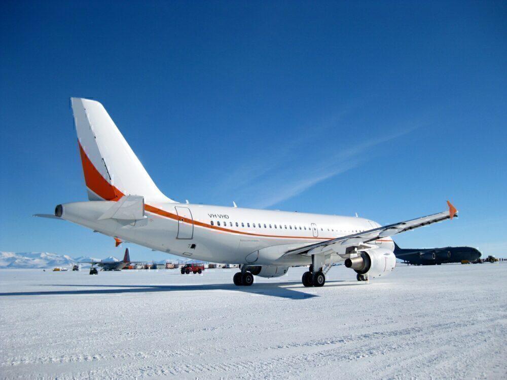 Skytraders A319 in Antarctica.