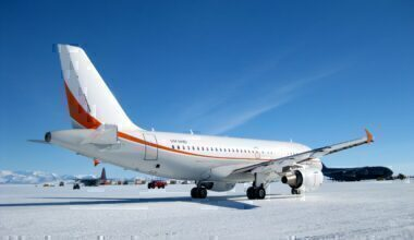 Skytraders A319 in Antarctica.