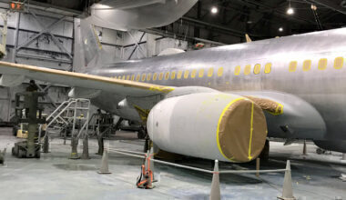 Aircraft paint stripped